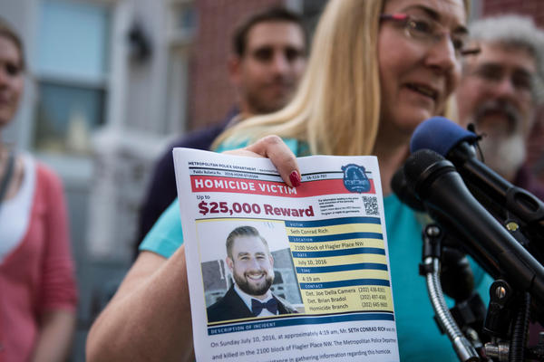 Mary Rich, the mother of slain Democratic National Committee staffer Seth Rich, speaks at a press conference on Aug. 1, 2016. A lawsuit alleges Fox News and a wealthy Trump supporter intended to deflect public attention from growing concern about the administration's ties to the Russian government by concocting a story about Seth Rich's death.