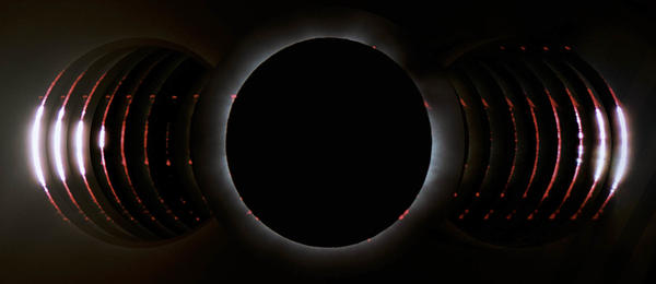 This composited, time-resolved image shows a solar eclipse from Queensland, Australia, on Nov. 13, 2012.