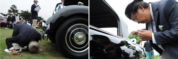 <strong>Left:</strong> A Concours judge checks the undercarriage on the 1938 Lagonda V12 Rapide Drophead Coupe, owned by Ron Rezek. <strong>Right: </strong>Detailer Morris Lum uses a toothpick and microfiber cloth towel on his client's 1958 Dual Ghia Convertible. Only 115 Dual Ghias were completed and just 36 are known to have survived.