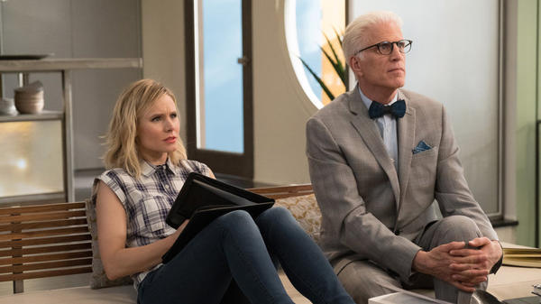 Kristen Bell as Eleanor and Ted Danson as Michael in <em>The Good Place.</em>