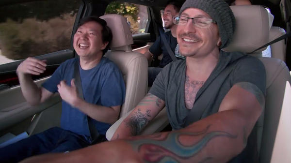Ken Jeong (left) with Chester Bennington in Linkin Park's episode of <em>Carpool Karaoke</em>.