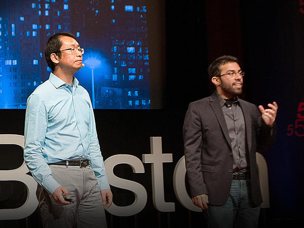 Steve Ramirez with Xu Liu on the TED Stage