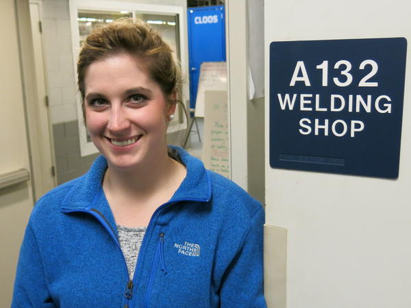 Welder Stephanie Puckly says she was kept in the office during a summer oil industry internship while male welders were allowed to work in the field.