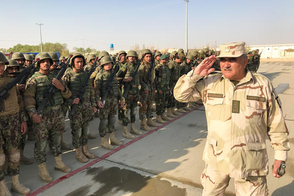 New recruits of the Afghan 215th Corps assemble at Camp Shorabak in Helmand Province.