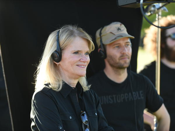 Martha Raddatz and Mikko Alanne on set of 'The Long Road Home' at U.S. Military post Fort Hood in Killeen, Texas.