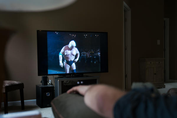 Melton watches Dusty Rhodes, who was known as a blue-collar hero in the '80s.