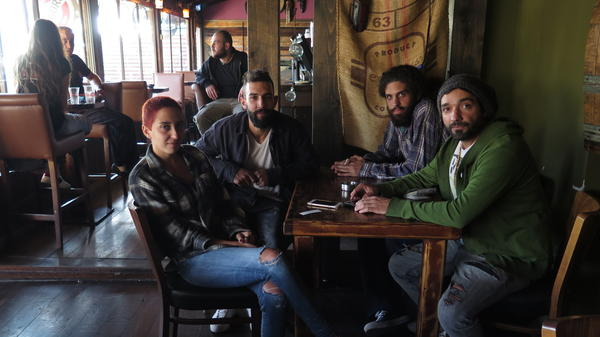 Members of the band Hawa Dafi at cafe in Majdal Shams where they performed the previous night.
