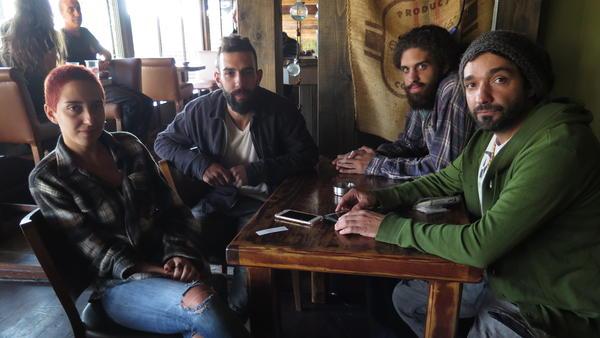 Members of the band Hawa Dafi at Why? cafe in Majdal Shams.