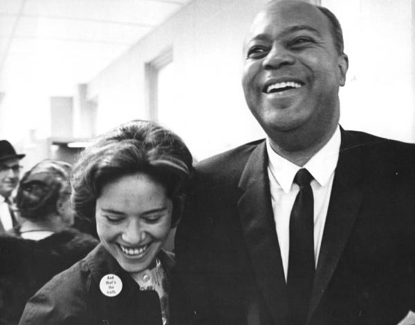 "Mary Hamilton, seen here with James A. Farmer of CORE, was a civil rights organizer who fought for the right to be addressed as ""Miss"" in an Alabama court and won."