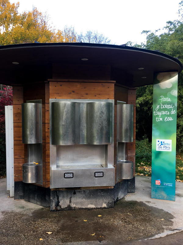 A sparkling water fountain in Parc Andre Citroen. City officials say Paris already has more than 1,000 public fountains, but the city wants to make some of them more exciting by providing carbonated water.