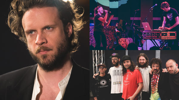 Father John Misty (left), Sylvan Esso (top right), and The War On Drugs (bottom right) are 3 of the man World Cafe guests that are nominated for a Grammy Award this year.