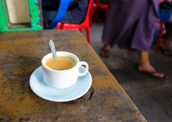 Classic Burmese <em>laphet yay</em> tea is a mix of evaporated milk, sweetened condensed milk and black tea.