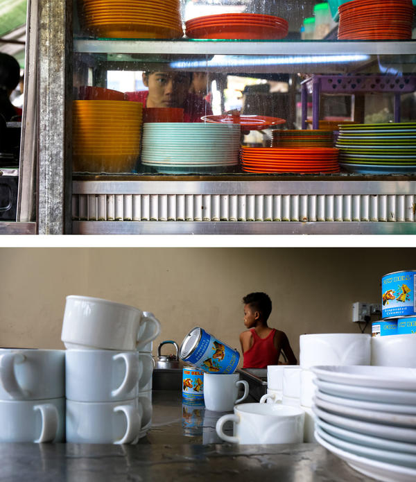 (Top) Food is prepared and served on colorful plates at Maha Yangon tea shop in Yangon. (Bottom) A young boy who works at the Morning Star Cafe tea shop in Yangon boils tea and empties evaporated milk into teacups.