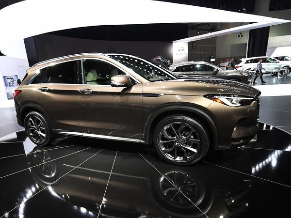 The Infiniti QX50 Crossover is displayed at the 2017 LA Auto Show in Los Angeles. The car features a new engine that shows automakers are still finding ways to improve the gasoline engine, even as electric vehicles are gaining in popularity.