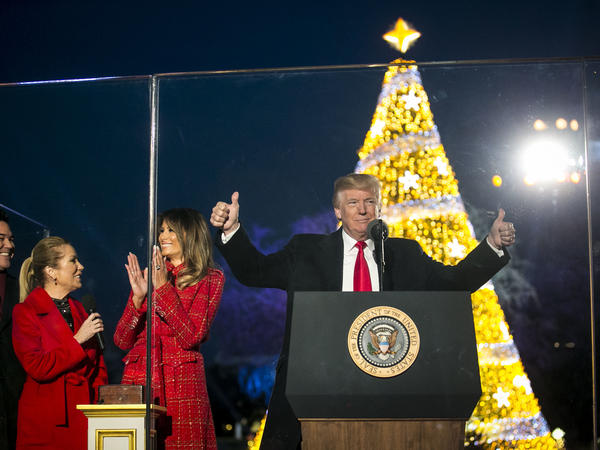 President Trump and first lady Melania Trump at the annual national Christmas tree lighting ceremony Thursday.