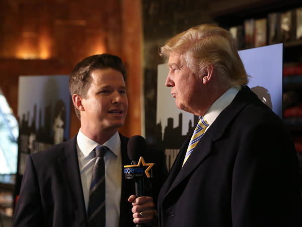 Donald Trump interviewed by Billy Bush of <em>Access Hollywood</em> at a <em>Celebrity Apprentice</em> Red Carpet Event at Trump Tower in January 2015 in New York City.