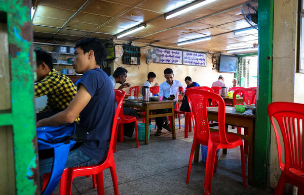 Maha Yangon is a classic tea shop in downtown Yangon, Myanmar.