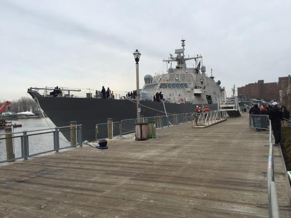 A view of the USS Little Rock LCS9 from the boardwalk at Canalside. The public will have the opportunity to view the vessel up close but will be required to undergo security screening similar to that inside airports.