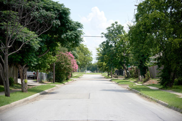 The street where the body of Jeffrey Young was found in Dallas.