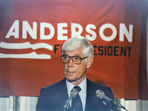 Rep. John Anderson of Illinois announcing his independent candidacy on April 24, 1980, in Washington.