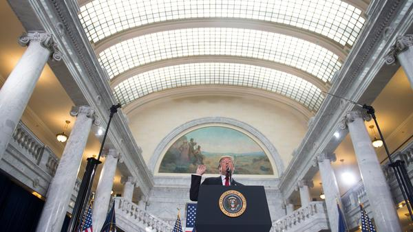 President Trump speaks at the Utah State Capitol on Monday before signing a proclamation to shrink Bears Ears and Grand Staircase-Escalante national monuments.