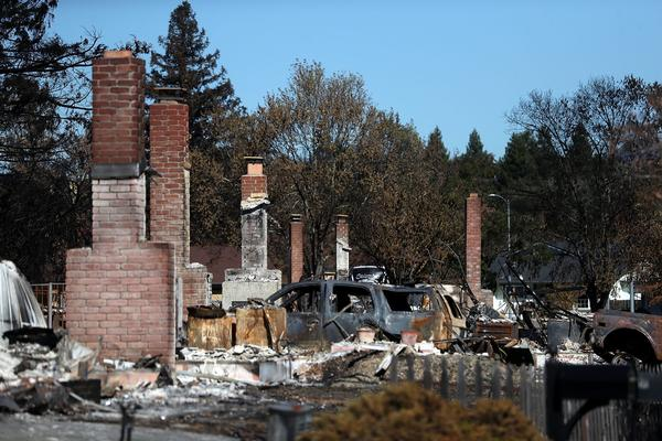 A view of homes in the Coffey Park neighborhood that were destroyed by the Tubbs Fire on Oct. 23, 2017 in Santa Rosa, Calif. (Justin Sullivan/Getty Images)