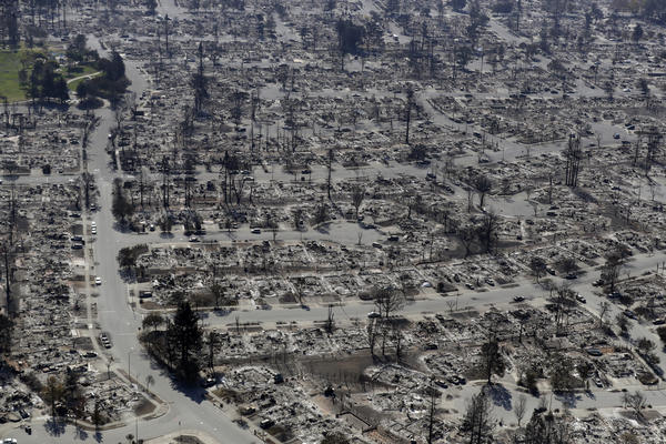 An aerial view shows the devastation of the Coffey Park neighborhood in Santa Rosa after a wildfire swept through.