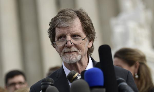 Jack Phillips, owner of Masterpiece Cakeshop, speaks outside the court. Phillips contends that his First Amendment right of free speech and religion exempts him from Colorado's anti-discrimination law.