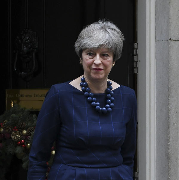 Britain's Prime Minister Theresa May prepares to greet Spain's prime minister outside No. 10 Downing St. in central London on Tuesday.