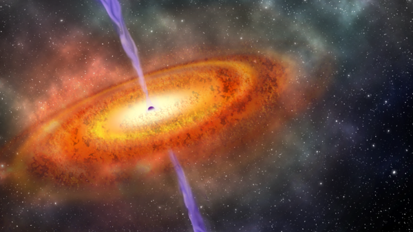 An artist's conception of the most-distant supermassive black hole ever discovered, which is part of a quasar from just 690 million years after the Big Bang.