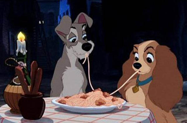 Iconic scene from 'Lady and the Tramp,' 1955