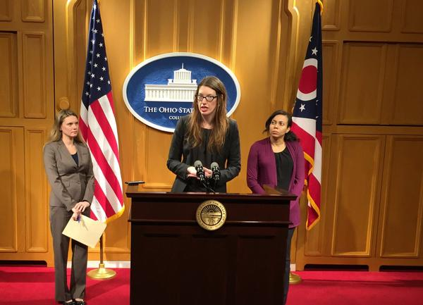 Rep. Kathleen Clyde (D-Kent) introduces legislation to create automatic voter registration system in Ohio during a press conference in the Ohio Statehouse in Columbus.