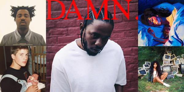 NPR Music's top five albums of the year. (Clockwise from upper left) <em>Process </em>by Sampha, <em>DAMN. </em>by Kendrick Lamar, <em>Melodrama </em>by Lorde, <em>Crtl </em>by SZA and <em>Capacity </em>by Big Thief.