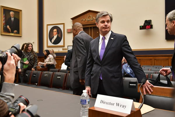 FBI Director Christopher Wray arrives to testify before the House Judiciary Committee on oversight of the Federal Bureau of Investigation in the Rayburn House Office Building in Washington, D.C., on Thursday.