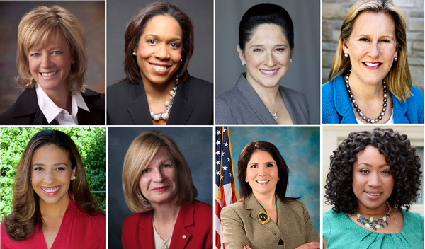 Top: Jeanne Ives-R, Juliana Stratton-D, Susana Mendoza-D, Nancy Rotering-D. Bottom: Erika Harold-R, Darlene Senger-R, Evelyn Sanguinetti-R, Litesa Wallace-D.