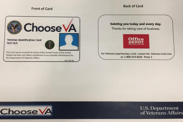The veterans group AMVETS distributed this early prototype of the VA's new veterans ID card in October. The VA has not released a final design, and it's not clear if the Office Depot logo will appear on the final card.