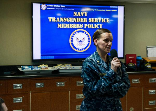 Lt. Cmdr. Valerie Greenaway conducts a Navy training session in December 2016, when an Obama-era policy allowed transgender service members to serve openly. Now, President Trump has ordered a ban on transgender recruits.