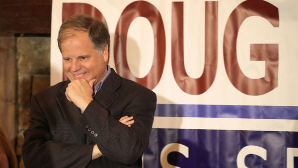"Alabama Democratic Senate nominee Doug Jones speaks as he hosts a ""Women's Wednesday"" campaign event this week."