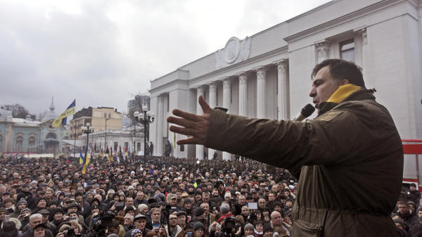 Mikhail Saakashvili addresses protesters after he escaped police custody on Tuesday.