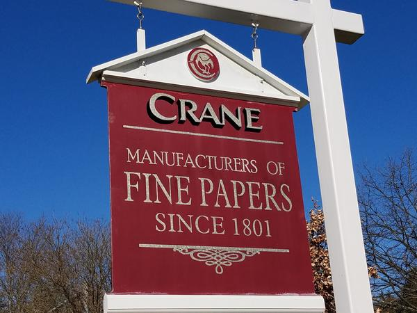 The sign outside Crane Currency's Dalton offices in Dalton, Massachusetts. The manufacturer is the only supplier of paper for United States currency.