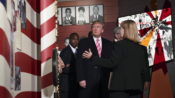 President Trump gets a tour of the newly-opened Mississippi Civil Rights Museum in Jackson, Miss., on Saturday. He was joined by Housing and Urban Development Secretary Ben Carson.