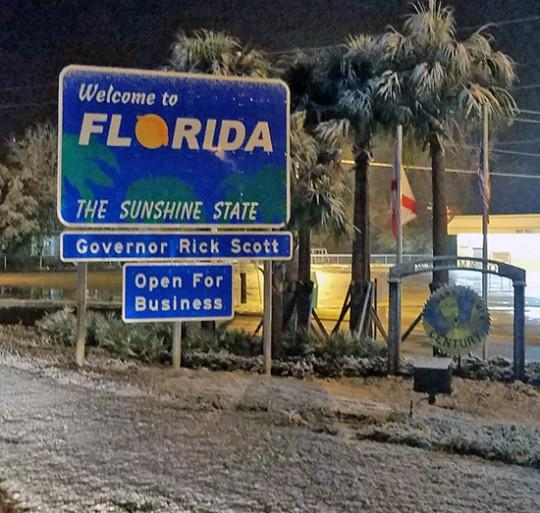 Escambia County in northwestern Florida saw up to two inches of snow on Dec. 9 and Dec. 10.