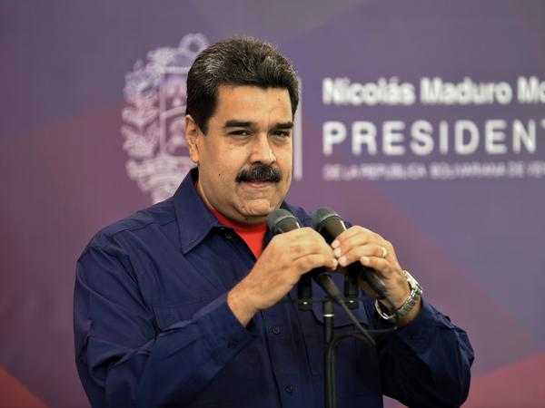 The president of Venezuela Nicolás Maduro makes a speech after casting his vote for municipal elections at a polling station in Caracas on Sunday.
