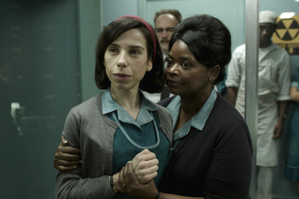 "Sally Hawkins (left) and Octavia Spencer in a scene from Guillermo del Toro's ""The Shape of Water."" Hawkins and Spencer were both nominated for Golden Globes on Monday for their performances in the film."