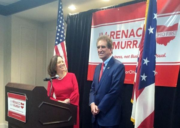 Amy Murray and Jim Renacci launch their joint ticket in Cincinnati on Dec. 11, 2017.