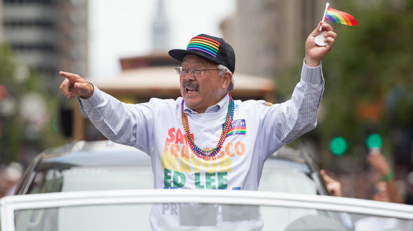 San Francisco Mayor Ed Lee died at a hospital in the early hours of Tuesday morning. He is seen here at the San Francisco Pride Parade in June.