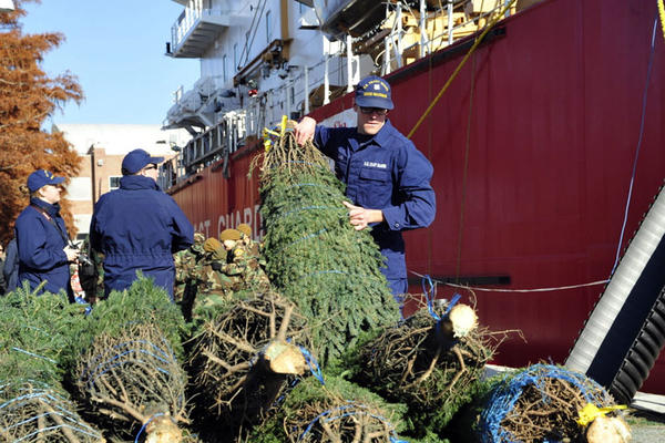 In Chicago, Christmas trees were delivered by the Coast Guard cutter Mackinaw.