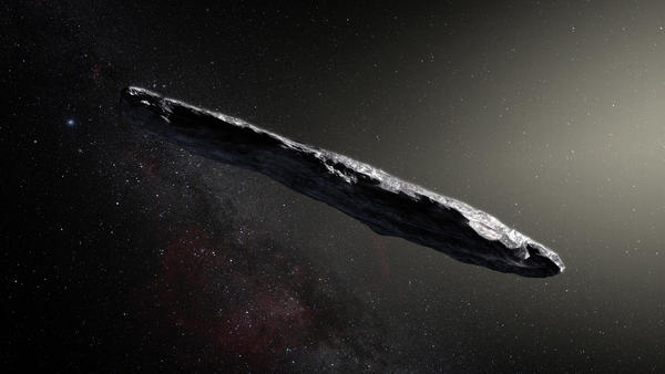 An artist's illustration of 'Oumuamua, a cigar-shaped interstellar object discovered in October. Now, astronomers want to know if this interloper might harbor life.