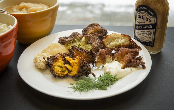 Three takes on latkes, from chef Kathy Gunst. (Robin Lubbock/WBUR)