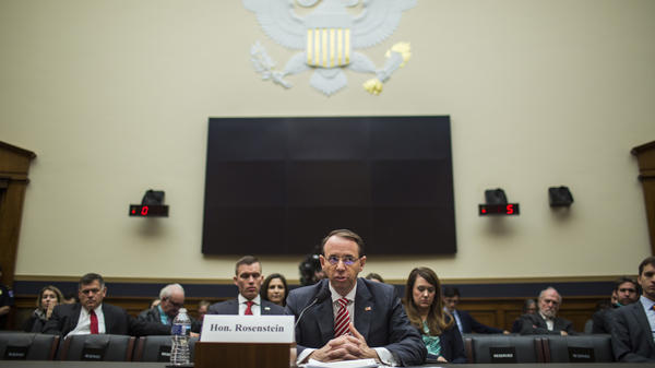 Deputy Attorney General Rod Rosenstein testifies during a House Judiciary Committee hearing on Wednesday in Washington, D.C.